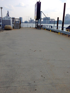 Pier surface at HarborArts, a blank slate...