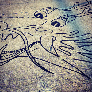 Chinese dragon sketch on the pier