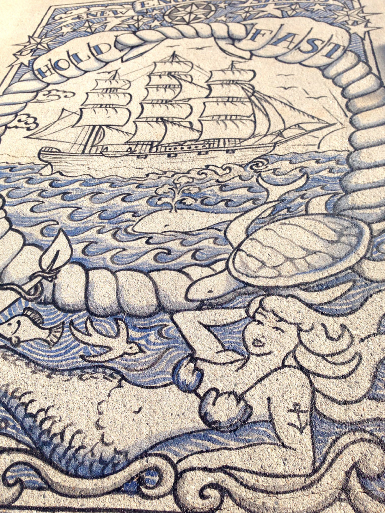 "New England Sailors dock tattoo design, ""Connected By Sea"": the 1000-foot tattoo project at Harbor Arts Boston"