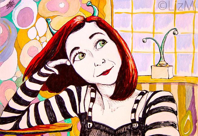 Lizm: Masha as an Andorean, dreaming of Avocados. Pen&Ink