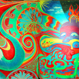 Burning Man series of painted wall hangings