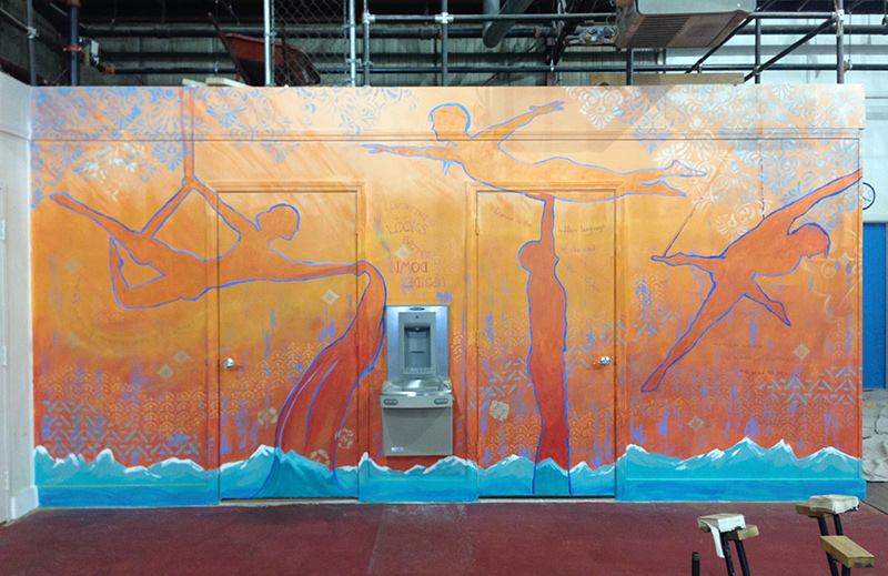 Esh Circus Arts gym wall by Liz LaManche