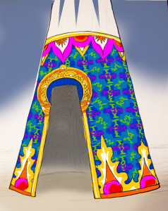One possible color treatment for the base of the Cosmic Praise tower.
