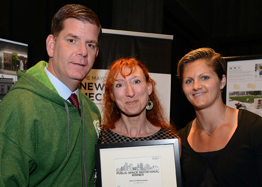Liz LaManche accepting PSI award from Mayor Walsh
