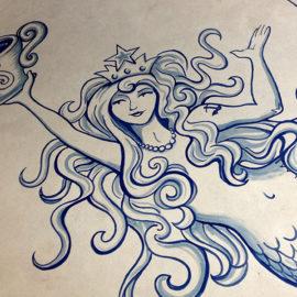 Double-tailed Siren in Starbucks Fan Pier