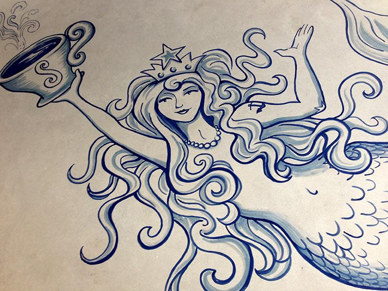 Floor Tattoos, Starbucks Fan Pier | Liz LaManche