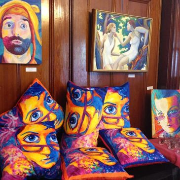 Somerville Open Studios 2015- Cutieface pillows, portrait of Rob Potylo.