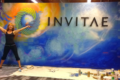 16-foot entryway mural on the origins of life, for Invitae
