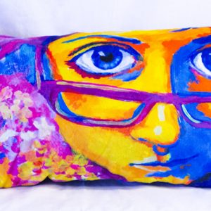 Cutieface pillow, 12x20, purple