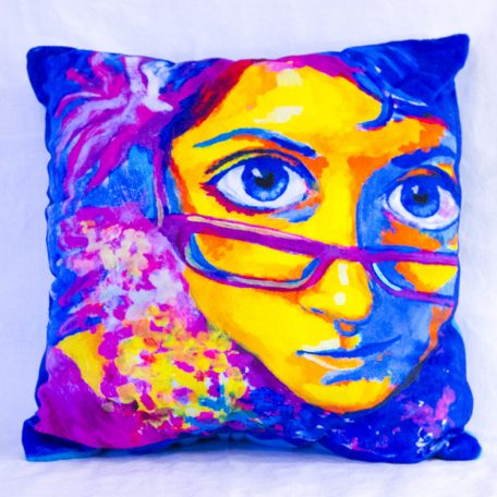 "Cutieface pillow 16"", blue"