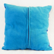 "Cutieface pillow 16"", blue, aqua blue plushy back with zipper."