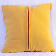 "Cutieface pillow, 16"", orange border, Schoolbus Yellow back"