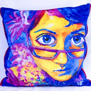 Cutieface pillow 20in blue