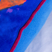 Cutieface pillow, 20in, blue, edging detail