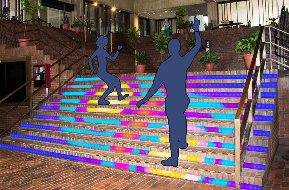 Mockup proposal for Stairs of deLight for Boston City Hall by LaManche