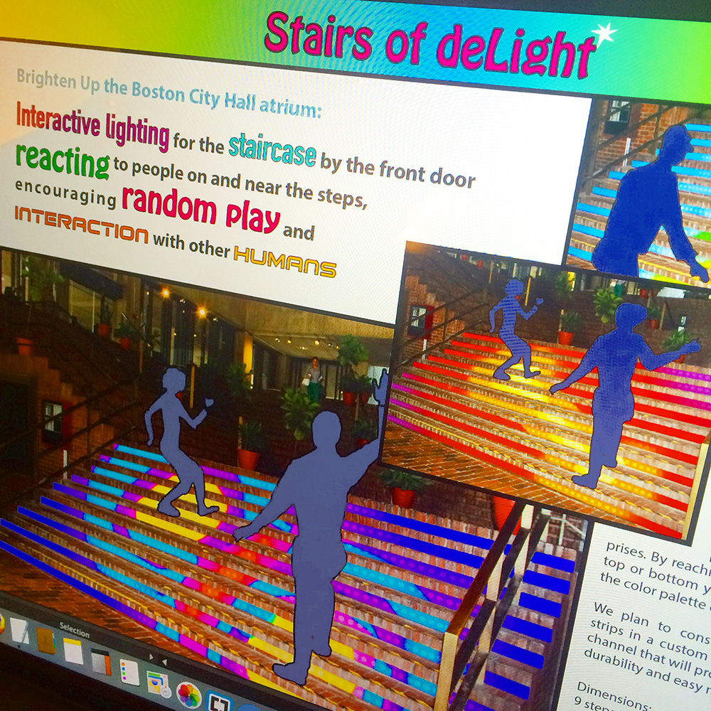 Stairs of deLight proposal for Boston City Hall by LaManche