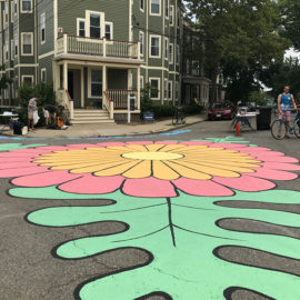 """Garden Path"" traffic calming street painting"
