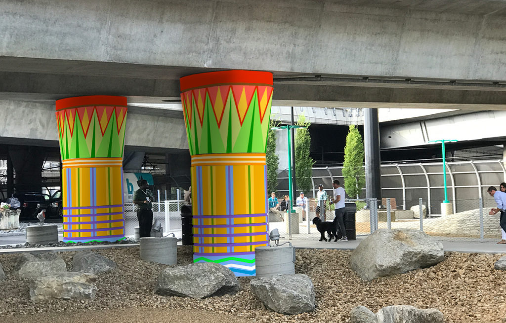 Public art idea for Underground at Ink Block: Ornate Egyptian columns