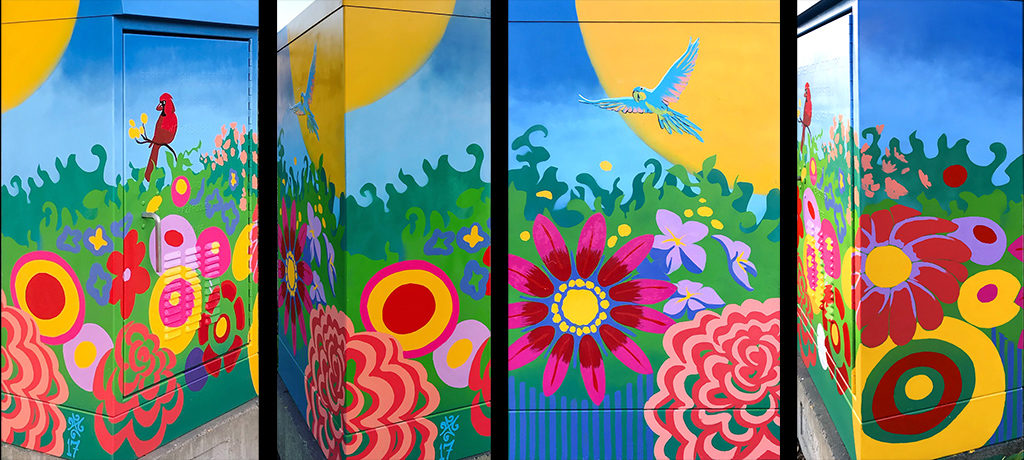 East Boston Jeffries Point public art- electrical box with tropical flowers, birds theme for community gardeners.
