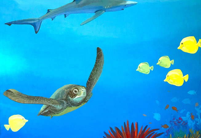 5x8ft mural of great barrier reef scene