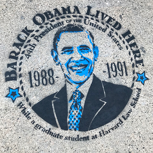 Obama Lived Here stencil on Broadway, closeup