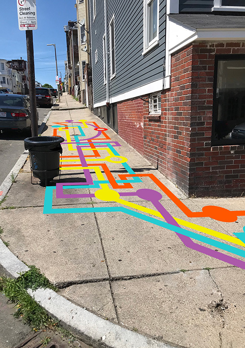 """East Boston """"Mystery Map"""" bus stop by Liz LaManche"""