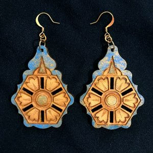 """Balkan"" earrings, natural wood with blue and gold"
