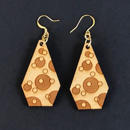 """Cosmos"" earrings, natural wood color"