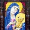 """""""Madonna and Bear"""" card, closeup"""