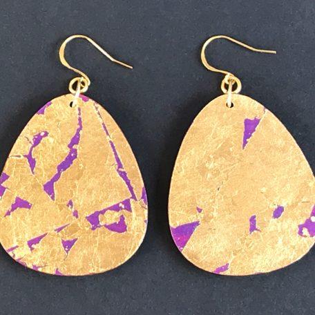 Uji River earrings, gold leaf with purple