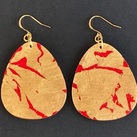 Gold leaf Uji River earrings, red