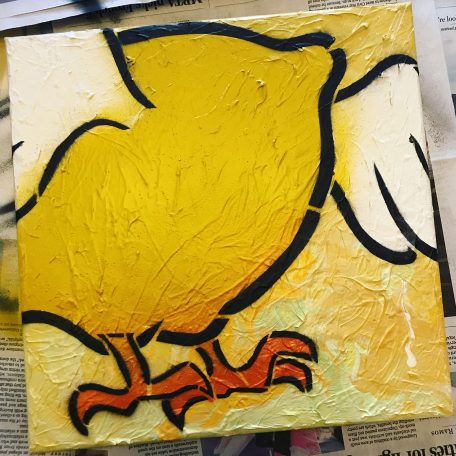 Flying lemon graffiti canvas